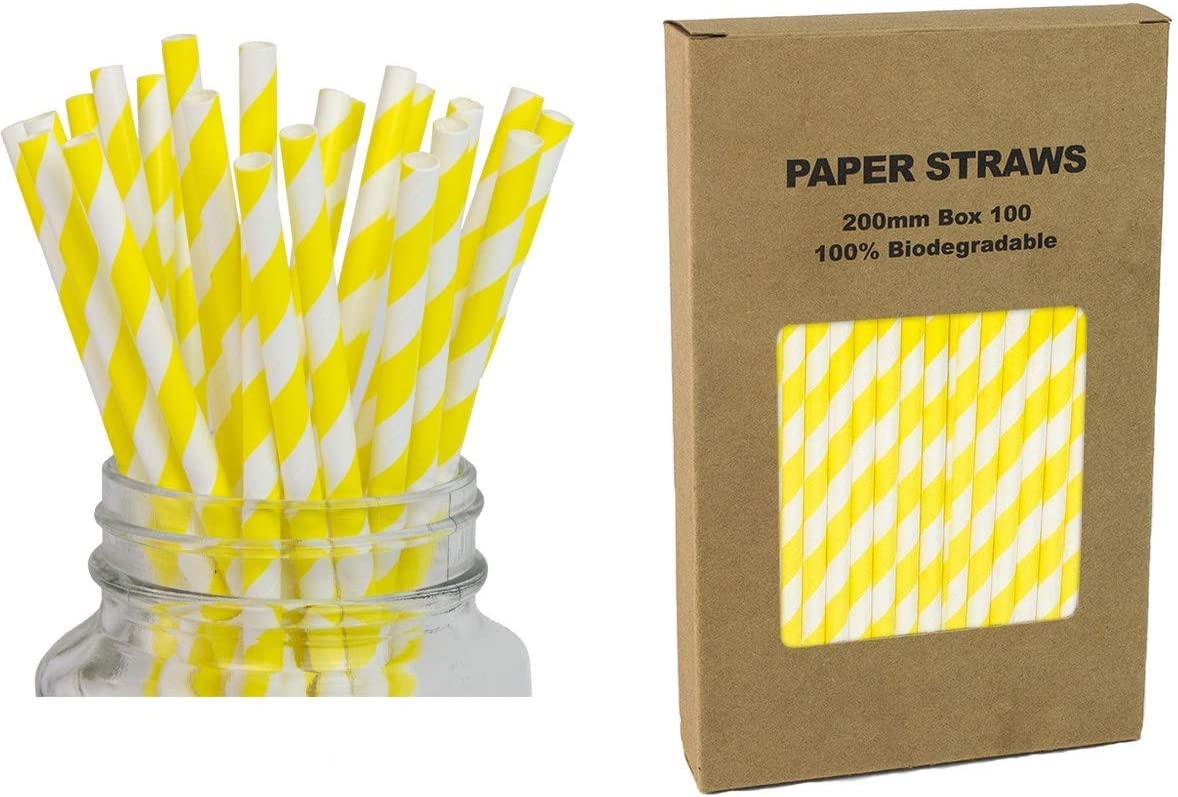 Disposable Party Big 80ct Pack Bright Yellow Stripe Paper Drinking Straws Celebration /& Cake Pop Straws