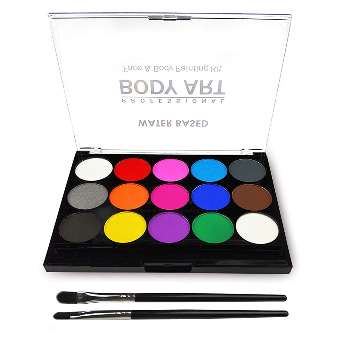 Face Paint Kit for Kids, Professional Quality Face & Body Paint, Hypoallergenic Safe & Non-Toxic, Easy to Painting and Washing, Ideal for Halloween Party Face Painting, 15 Colors with Two Brush