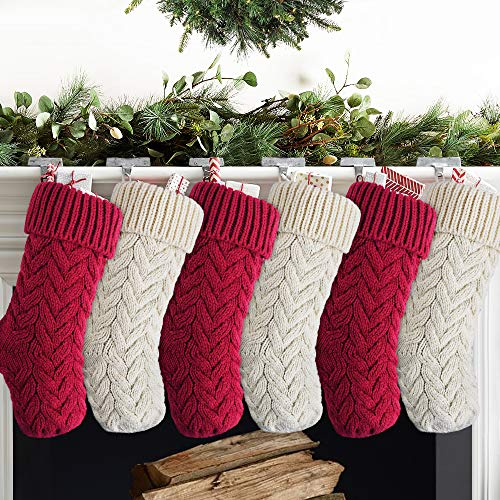 Meriwoods Christmas Stockings, 6 Pack 15 Inches Small Cable Knit Xmas Decorations, Burgundy & White