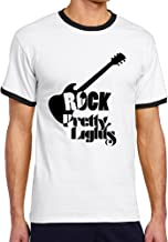 WG Men's Two-toned Tshirts-Vintage Pretty Smith Lights Rock Music Mark Black