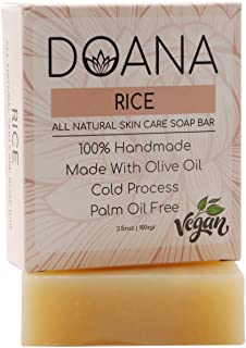 Rice Soap Bar - VEGAN/PALM OIL FREE, Repair the Skin Damaged by the Sun, Fights Against Skin Spots, Makes Skin Brighter, C...