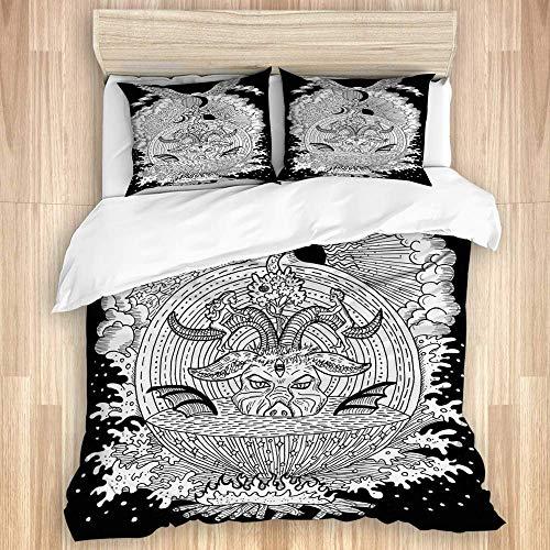 Colecciones de ropa de cama Símbolos espirituales místicos blancos como el diablo Eva Adam Infierno y el cielo sobre fondo negro Funda nórdica decorativa para dormitorio con 2 fundas de almohada, lazo