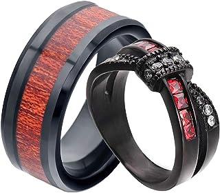 خواتم زوجين من الرجال الأسود خاتم الأميرة قص الأحمر تشيكوسلوفاكيا المرأة خاتم الزفاف 8 مم التيتانيوم الصلب رجل عصابات الزفاف