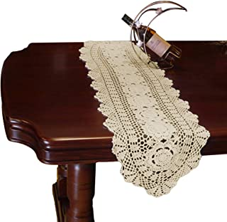 yazi Crochet Floral Table Runner Beige Handmade Rustic Floral Pattern Table Doilies 11.8