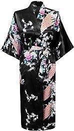 Kimono Japonais en Satin Sexy Robe de Chambre 1/2