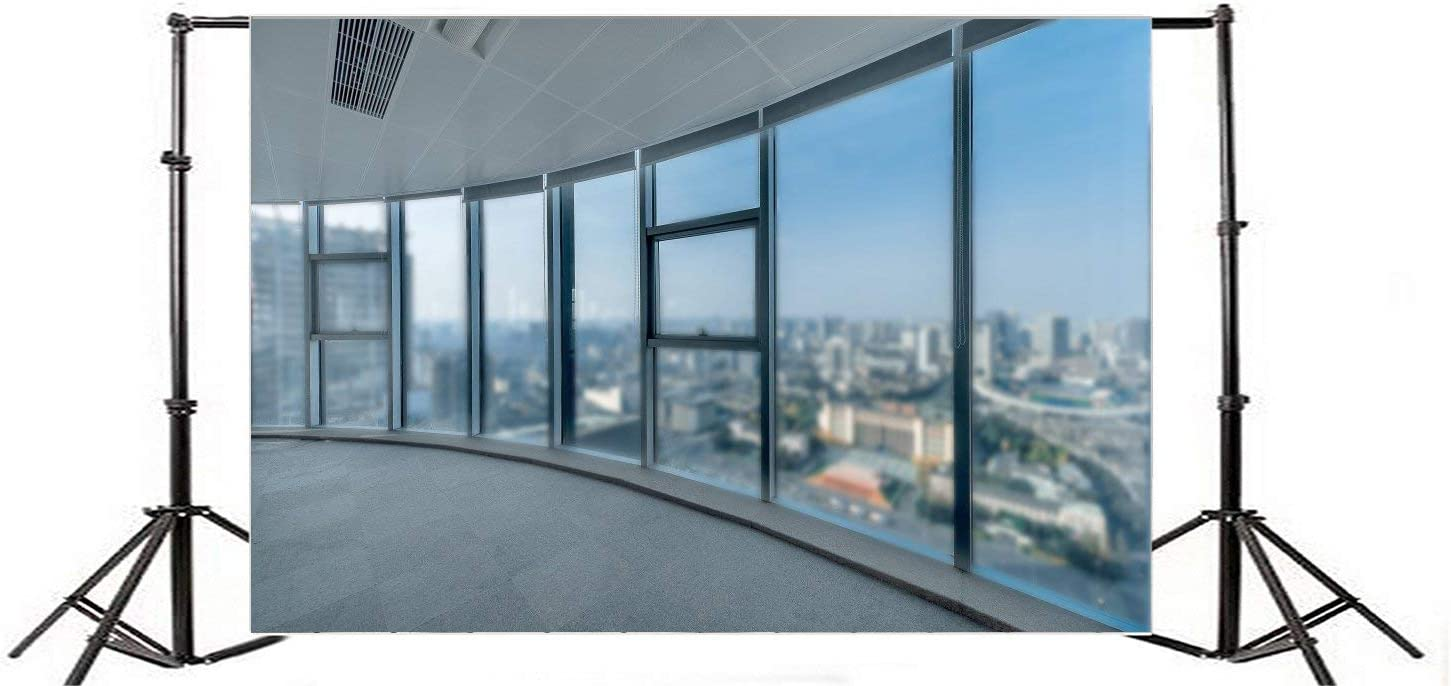 7X5FT Office Room Backdrop New York City Skyscraper Backdrops for Photography Interior French Window Sunshine Ray White Pillars Vinyl Photo Background Interior Decoration Adults Studio Props