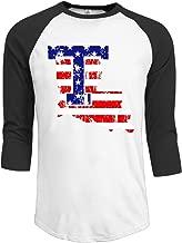 ElishaJ Men's Raglan Baseball T Shirt Louisiana Tech University Black