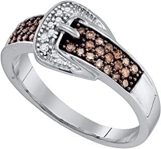 GemApex Brown Diamond Buckle Ring Solid 10k White Gold Buckle Band Chocolate Round Cluster Style Fancy 1/4 ctw
