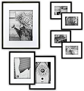 "Gallery Perfect Gallery Wall Kit Photo Decorative Art Prints & Hanging Template Picture Frame Set, Multi Size - 8"" x 10"", 5"" x 7"", 4"" x 6"", Black, 7 Piece"