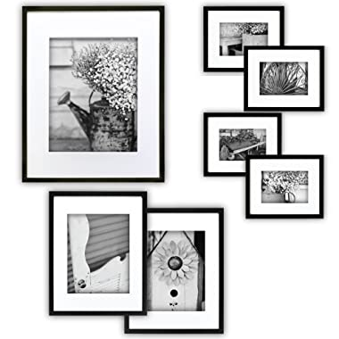 Gallery Perfect Gallery Wall Kit Photo Decorative Art Prints & Hanging Template Picture Frame Set, Multi Size - 8  x 10 , 5  x 7 , 4  x 6 , Black, 7 Piece