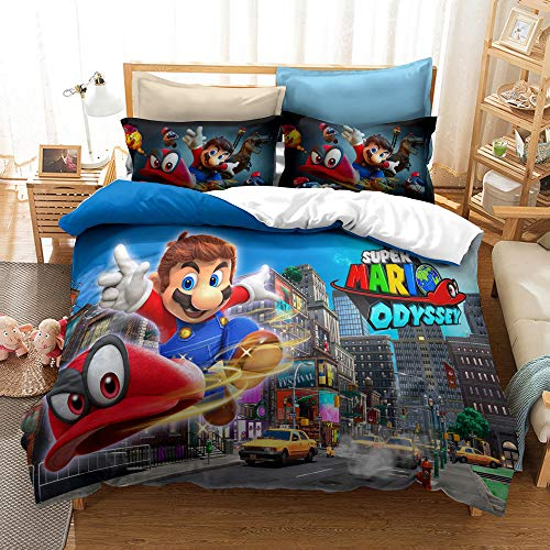 XCMDSM Duvet cover 3D Printed Bedding set Duvet Cover and Pillowcase Bedroom Decor Quilt Covers for Kids and Adults Soft Microfiber Set Super smash bro(135X200CM 2 pieces)