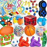 36 Pcs Sensory Fidget Toys Pack,Fidgets Box Stress Relief and Anti-Anxiety Autistic ADHD Toy Set for Kids Teens Adults,Fidget Pad,Stress Balls,Marble and Mesh,Pop Tubes,Fidget Spinner,Stretchy Strings