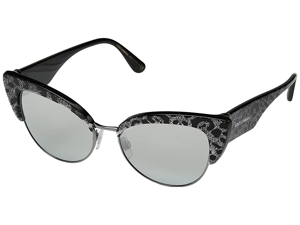 Dolce & Gabbana 0DG4346 (Leopard Glitter Black/Light Grey Mirror Silver) Fashion Sunglasses
