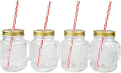 Unowall Set of 24 Glass Mason Drinking Jars with Silver Lids and Straw Holes