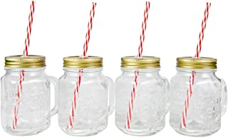 Lily's Home Old Fashioned Mason Jar Mugs with Handles, Tin Lids and Matching Reusable Plastic Straws, Great as Old Fashion Drinking Glasses at BBQs and Parties, Clear (16 oz. Each, Set of 4)