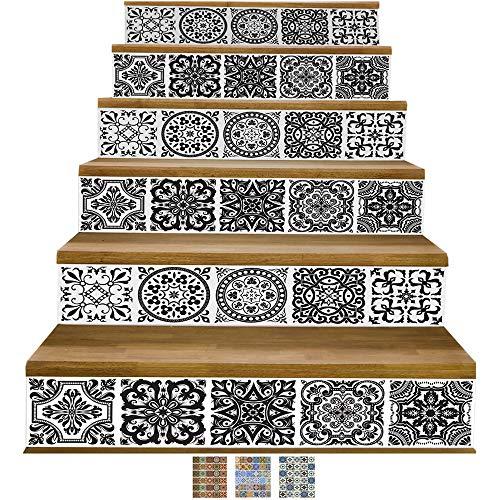 Y-Step Treppen-Aufkleber, selbstklebend, Renovation, wasserdicht, Wandaufkleber zum selber Anbringen, Vinyl, 6 Stück 6.4 cm * 36.6 cm