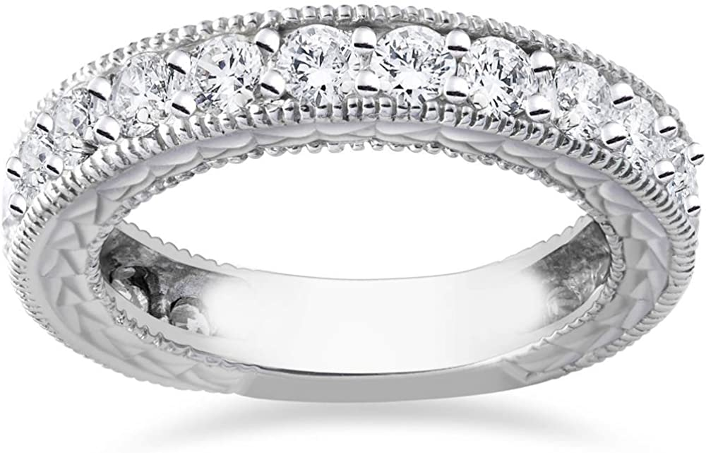 1 3/8ct Antique Real Diamond Wedding Anniversary Ring