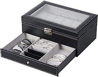 NEX Watch Case Organizer, Double-Layer Watch Box with Display Glass and Jewelry Tray Drawer