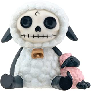SUMMIT COLLECTION Furrybones Wooolee Signature Skeleton in White Sheep Costume with Small Pink Sheep Doll.