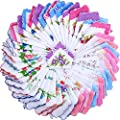 45 Pieces Ladies Hankies Women Floral Handkerchiefs Vintage Cotton Handkerchiefs