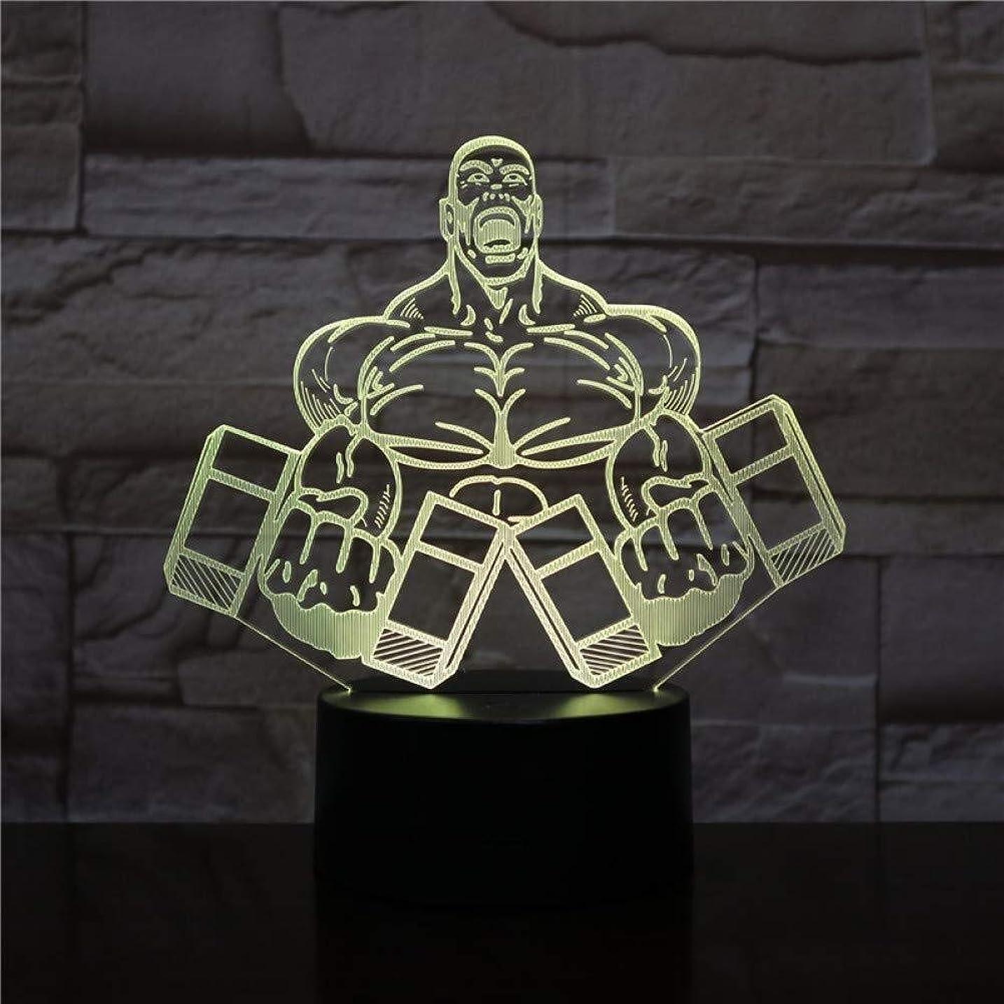 広げる暗くするうめき声3DイリュージョンダンベルフィットネスLEDランプタッチセンサーカラフルなベッドルームベッドサイド装飾デスクランプキッズフェスティバル誕生日プレゼントギフトUSB充電