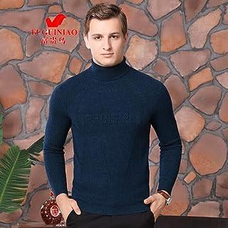 富贵鸟 纯羊毛衫中老年男全羊毛冬季双翻领针织毛衣商务休闲爸爸装保暖打底衫