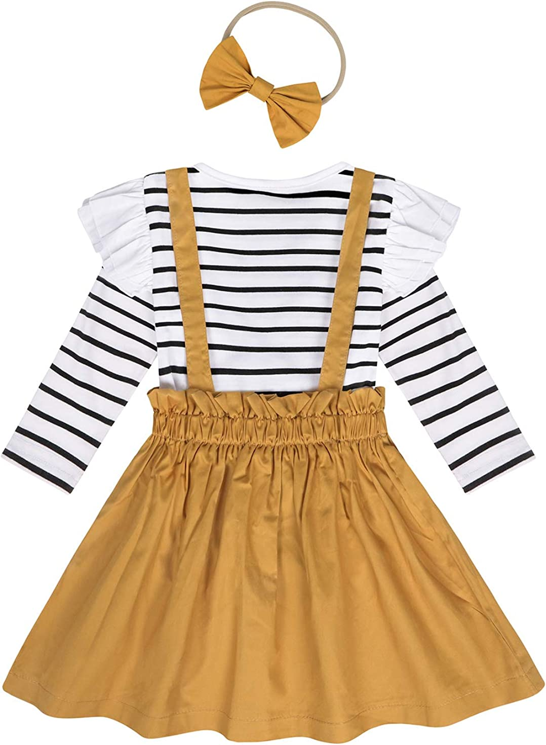 AmzBarley Toddler Girls Dress Set Ruffle Stripe T-Shirt Solid Color Overall Suspender Dress Button Strap Tutu Skirts Outfits