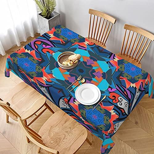 Mantel Rectangular,patrón sin Costuras con Adornos de Vector de Flor de Fondo Rosa Azul Blanco,Manteles Lavable Antimanchas de Mantel para jardín Habitaciones decoración de Mesa 137x183cm