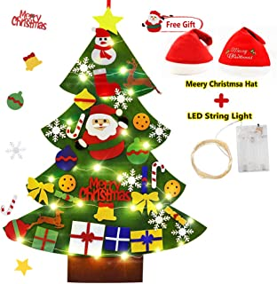 sinoeem Felt Christmas Tree with LED Light 33pcs Ornaments Handmade Christmas Window Door Wall Hanging Home Decorations Gifts for Kids