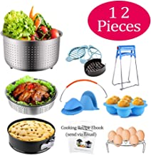 QUERLY Pressure Cooker Accessories Set Compatible with Instant Pot 6 & 8 Quart 12 pcs with Steamer Basket, Springform Cake Pan, Silicone Egg Bites Mold, Egg Rack Trivet, Mini Mits and more