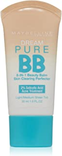 Maybelline New York Dream Pure BB Cream 8-in-1 Skin Clearing Perfector, Light/Medium 1 oz (Pack of 2)