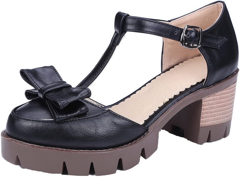 AllhqFashion Women's PU Solid Buckle Closed Toe Kitten-Heels Sandals