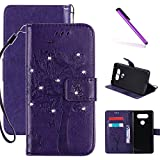 LG V20 Case, LEECOCO Embossed Floral 3D Handmade Bling Crystal Diamonds Butterfly with Card Slots Magnetic Flip Stand PU Leather Wallet Case for LG V20 Wishing Tree Purple