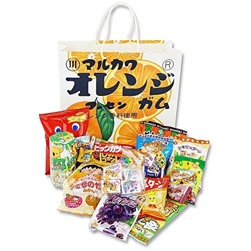 マルカワ オレンジマーブルガム紙袋の駄菓子詰め合わせ