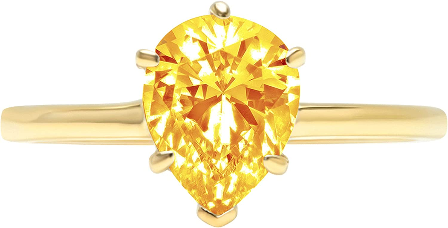 1.9ct Brilliant Pear Cut Solitaire Natural Yellow Citrine Ideal VVS1 Engagement Wedding Bridal Promise Anniversary Ring Solid 14k Yellow Gold for Women