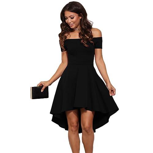 shelovesclothing Women s New Dipped Hem Off The Shoulder Rage Skater Dress  Sizes 8-22 a80502872