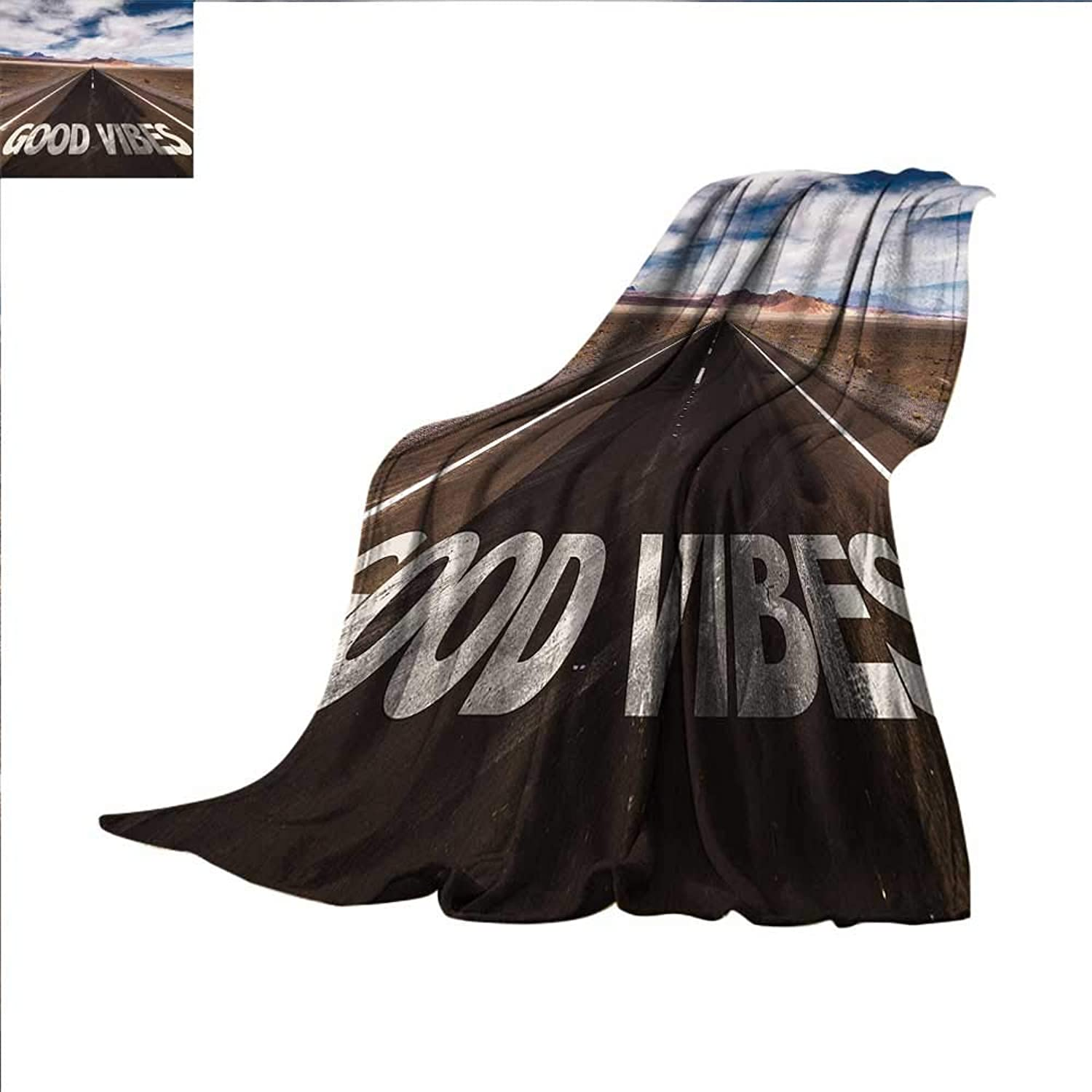 Smallbeefly Good Vibes Digital Printing Blanket Inspirational Phrase on Highway On The Road Theme Travel Enthusiasm Summer Quilt Comforter 60 x50  Brown Dark bluee White