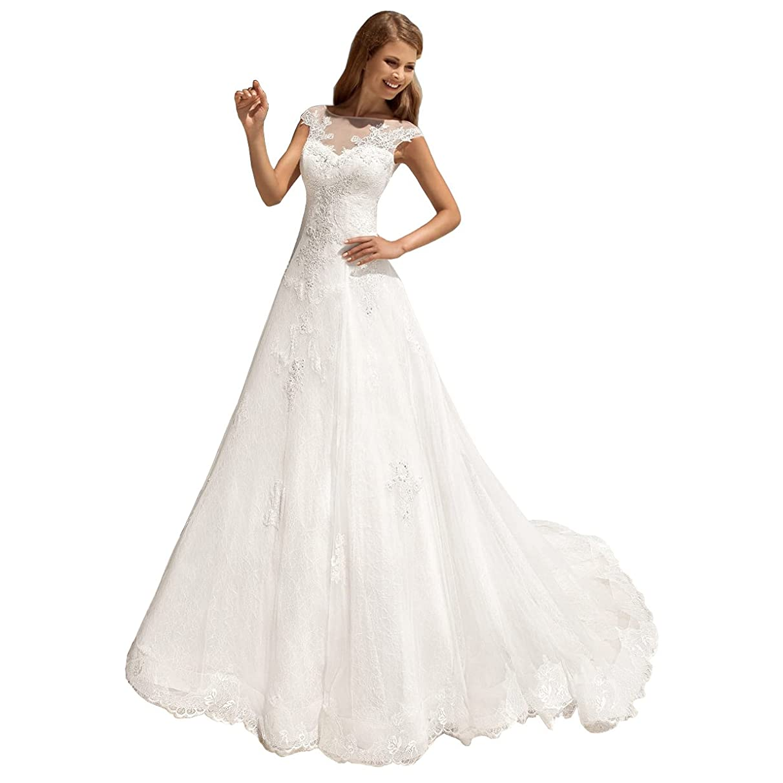 DingDingMail Lace Beach Wedding Dresses Open Back Corset Wedding Bridal Gowns