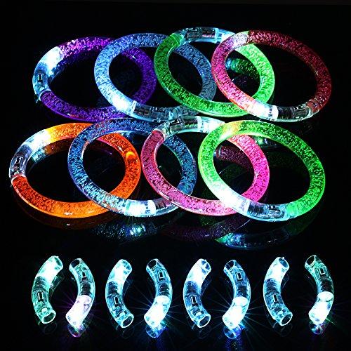 KAKOO 16tlg LED Armband Set, 8 Leuchtarmbänder Blinkende Armreif Leuchtband für Weihnachten Geburtstag Party Disco Konzert Kinder Spielzeug mit 8er Ersatzleucht