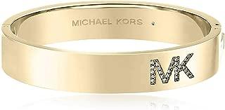 Women's MK Crystal Pave Logo Gold Bangle Bracelet