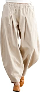 IXIMO Women's Casual Cotton Linen Baggy Pants with Elastic Waist Pleated Relax Fit Trousers