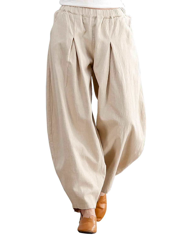 Aeneontrue レディース リネン ワイドパンツ ロングパンツ 無地 カジュアル プリーツ入り ウェストゴム ポケット付き きれいめ ズボン 4色展開