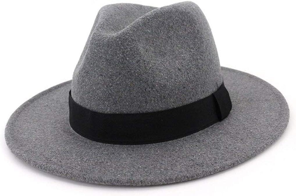Men Women Fedora Wide Brim Wool Felt Formal Party Jazz Trilby Hat for Autumn Winter