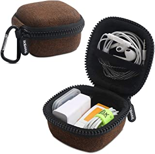 Iksnail Headphone Organizer Bag, Travel Carrying Case Shockproof Portable Storage Pouch for Wireless Earbuds Bluetooth Headphone, USB Flash Drive, USB Cable,Khaki