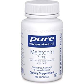 Pure Encapsulations - Melatonin 3 mg - Hypoallergenic Supplement Supports The Body's Natural Sleep Cycle - 180 Capsules