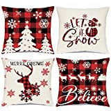 Hlonon Christmas Throw Pillow Covers 18 x 18 Inch Set of 4 Holiday Decorations Winter Decorative Black and Red Buffalo Plaid Rustic Pillowcase for Christmas Home Sofa Couch Decor