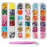 36 cajas de lentejuelas holográficas para uñas, concha Kalolary de hoja redonda iridiscente, purpurina para uñas, confeti colorido, calcomanía de confeti para manicura y arte de uñas