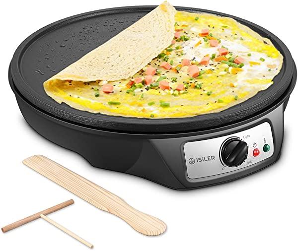 Electric Crepe Maker ISiLER Nonstick Electric Pancakes Maker Griddle 12 Inches Electric Crepe Pan With Batter Spreader And Wooden Spatula Precise Temperature Control For Roti Tortilla Eggs BBQ