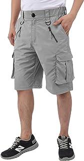 DIKAMEN Cargo Shorts,Men's Multi-Pockets Outdoor Shorts,Elastic Waistband Urban Tactical Shorts