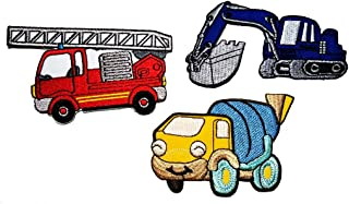PP Patch Set Red Fire Engine Truck Blue Backhoe Yellow Concrete Truck Concrete Mixer Retro Classic Cartoon DIY Applique Embroidered Sew Iron on Patch Cartoon Logo T-Shirt Jacket Jeans Bags Clothings